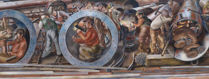 Detail of Riveters, from the series Shipbuilding on the Clyde by Stanley Spencer (1941). Image Credit: ImperIal War museums