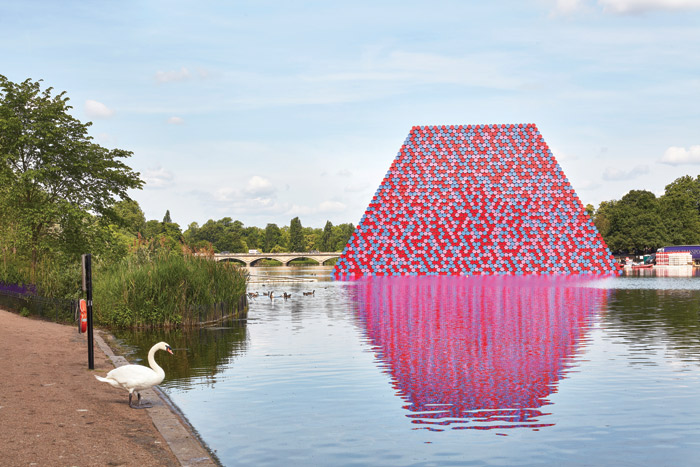 Swanning around: The Mastaba appears like an alien presence on the lake — if only we could ask the resident birds what they think