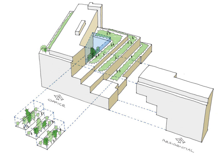 A plan showing the tiered green spaces within the building