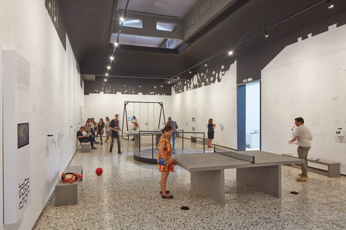 Romania's pavilion mixes research with sensory experience to explore the provision of play space in the country's cities