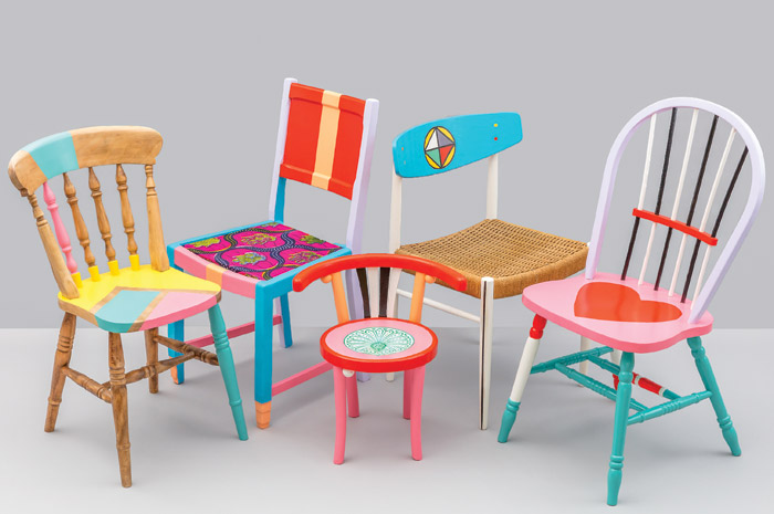 Upcycled chairs from Ilori's collaboration with Restoration Station, 2017