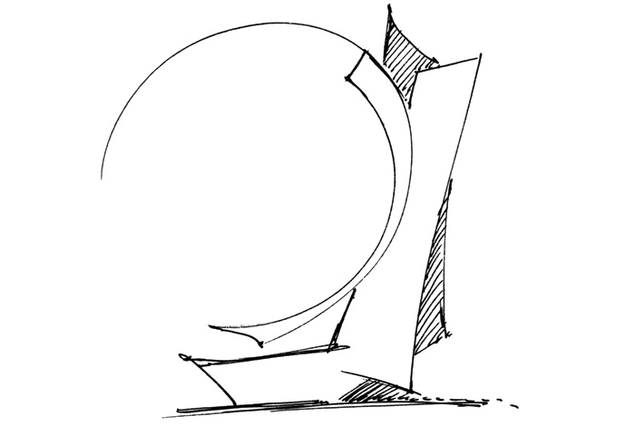 An original sketch by Libeskind explores the form that would emerge