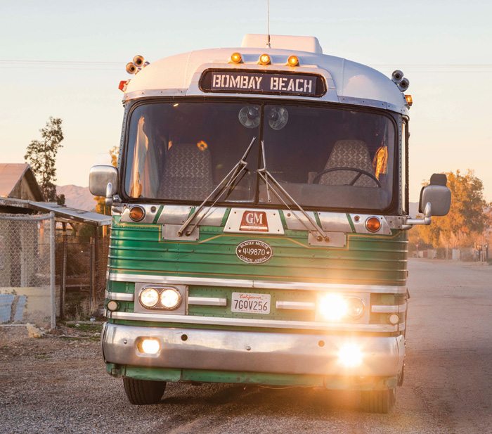 A bus belonging to artist Tao Ruspoli, who has a house in Bombay Beach, but parks this bus outside and sleeps in it