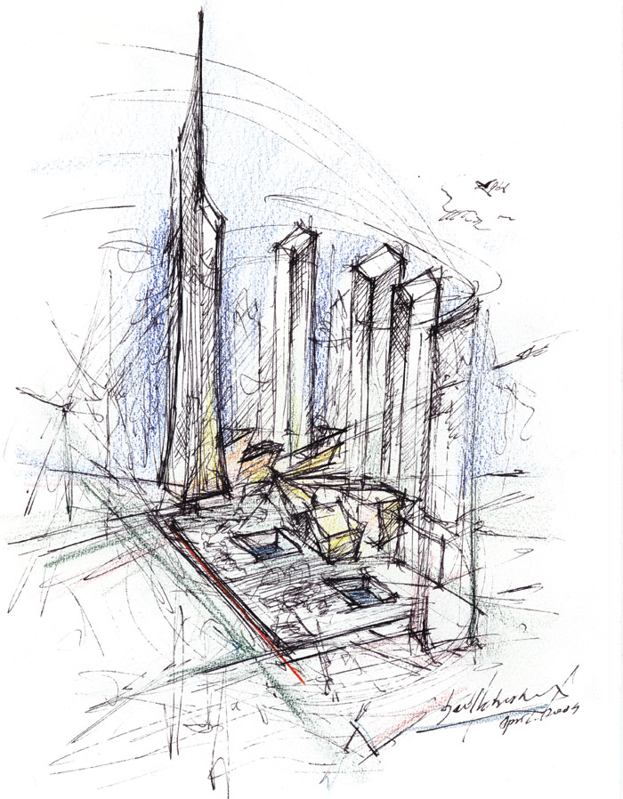 For Libeskind, architecture all starts with drawing. This is a WTC site sketch and a subsequent CAD visualisation of how the completed scheme is expected to look. Image Credit: Daniel Libeskind