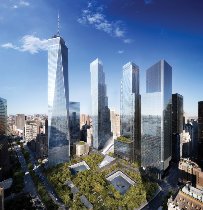 For Libeskind, architecture all starts with drawing. This is a WTC site sketch and a subsequent CAD visualisation of how the completed scheme is expected to look. Image Credit: Studio Libeskind