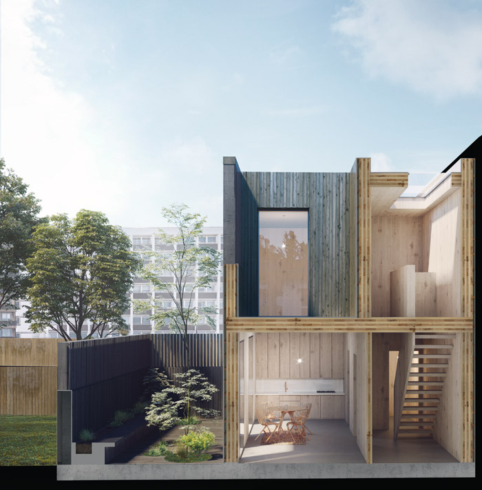Visualisations of a Cube Haus, exterior and interior, by Adjaye Associates. Image Credit: Edit.RS