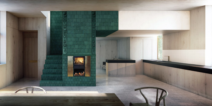 In Skene Catling de la Peña's design, a central stove becomes the structural core of the house. Image Credit: Edit.RS