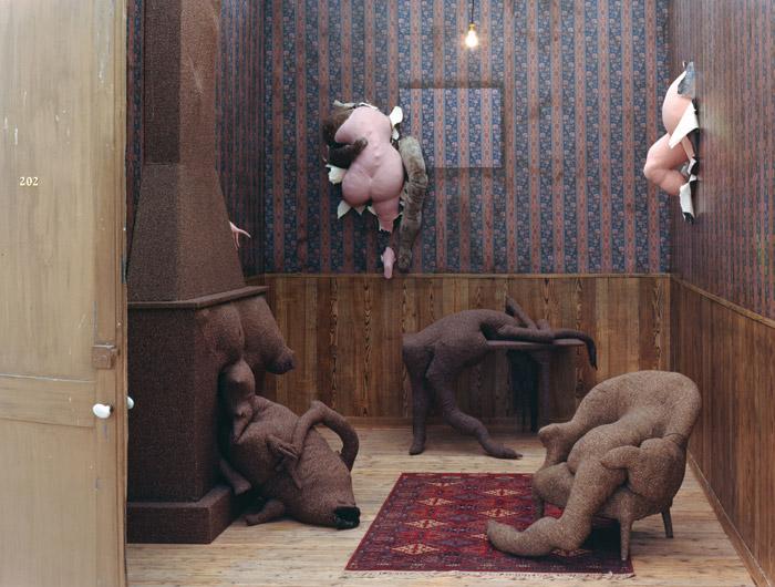 Tanning's soft sculpture installation, Hôtel du Pavot, Chambre 202 (1973). Image Credit: Centre Pompidou, MNAM-CCI, DIST. RMN-Grand Palais / Philippe Migeat / DACS, 2019