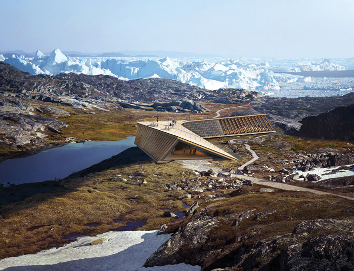 Visualisations of the studio's Icefjord Centre project in Greenland, in winter and summer