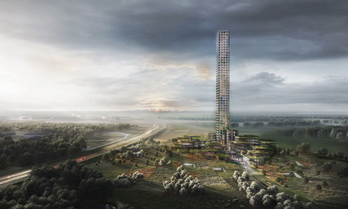 DMA is building Scandinavia's tallest tower, for Danish fashion company Bestseller, on Jutland's Flatlands. Image Credit: MIR