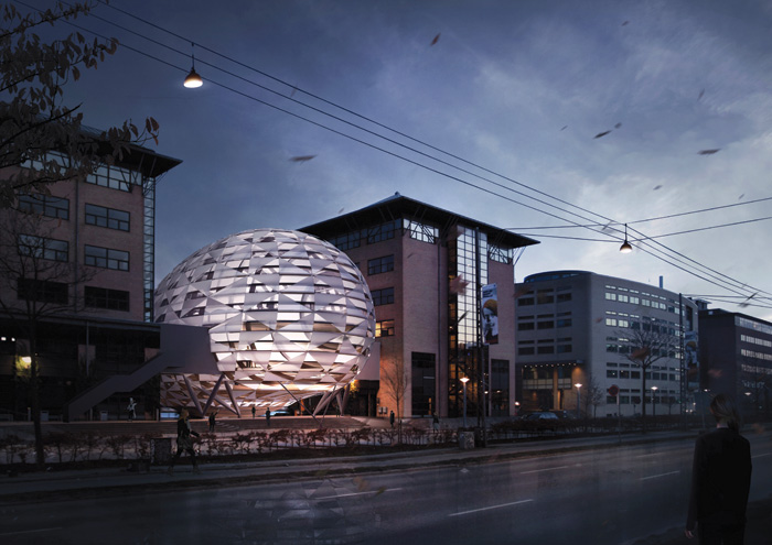 The Opal project, a dome-like sphere in Copenhagen with technical textile cladding, was cancelled in 2017