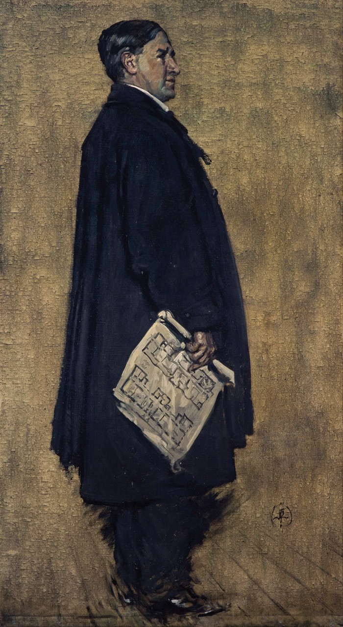 Francis Newbury's portrait of Charles Rennie Mackintosh (1914), holding the plans for the Glasgow School of Art. Image Credit: Francis Henry Newbery. 1914. Charles Rennie Mackintosh. National Galleries of Scotland