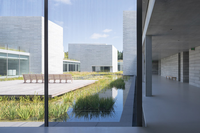 The central water courtyard, viewed from the connective, glazed Passage, is planted with irises, lilies and rushes. Image Credit: Iwan Baan, Courtesy Of Thomas Phifer and Partners