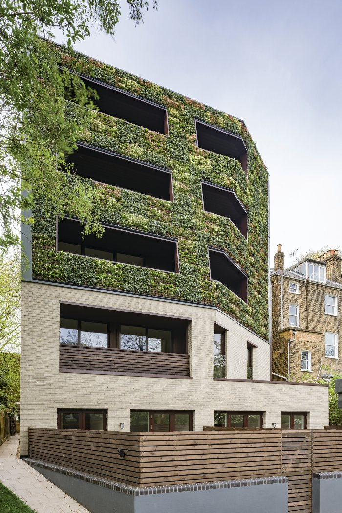 A three-storey living wall marks out the rear of the building. Image Credit: Gareth Gardner