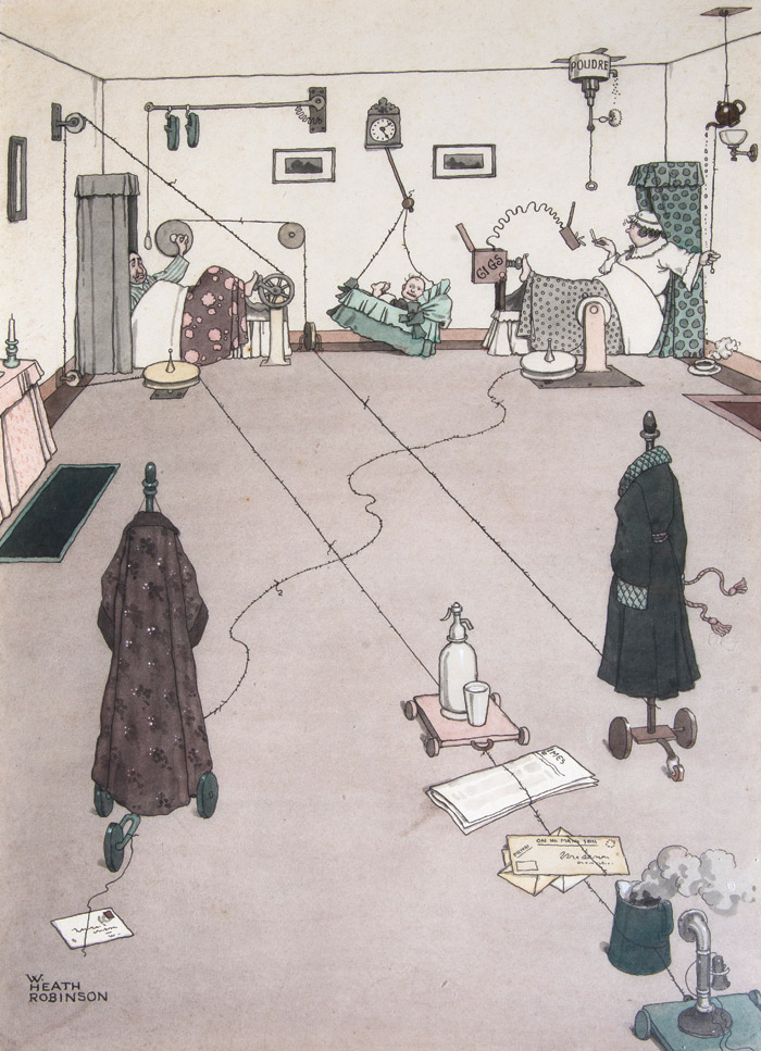 W Heath Robinson, How to Dispense with Servants in the Bedroom (1933). Image Credit: Beetles Gallery / St James's London
