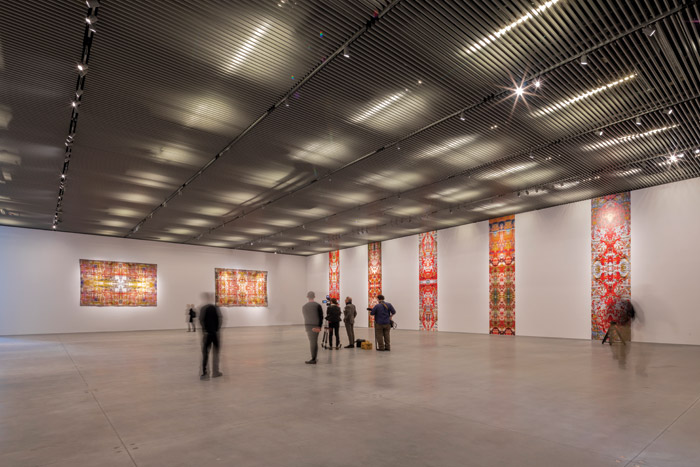 The gallery space in the main building was split into two sections for the Reich Richter Pärt collaboration (Steve Reich, Gerhard Richter, Arvo Pärt). This is Richter Pärt room. Credit: Iwan Baan