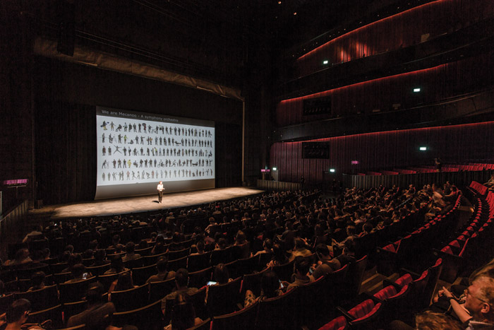 Francine Houben addresses an audience in the largest venue, the Opera House. Image Credit: Iwan Baan