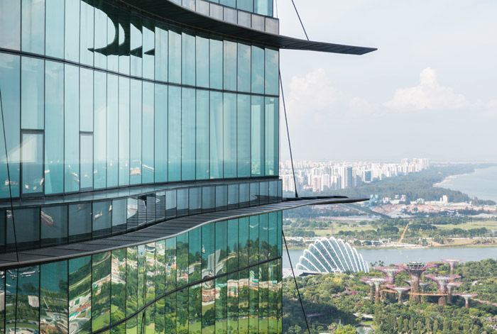 Looking east from the oce towers, the iconic structures of Gardens by the Bay are visible. Image Credit: Ingenhoven Architects / HG Esch