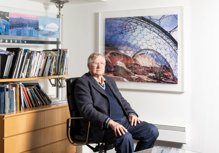 Nicholas Grimshaw in his London office in front of the Eden Biomes — a practice -changing Millennium Project win. Image Credit: Ivan Jones