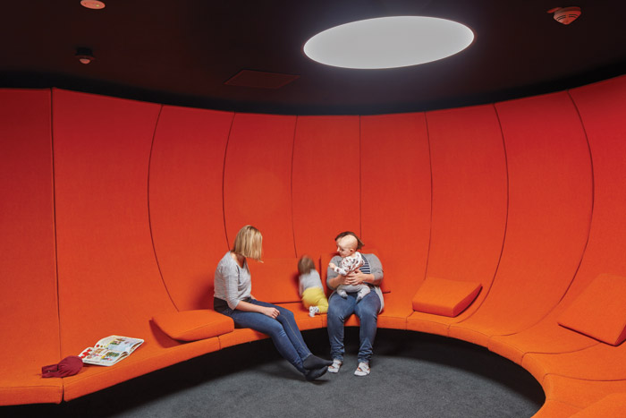 A communal space to relax in on the middle floor, which focuses on making and doing rather than reading
