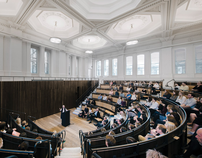 Chipperfield designed the new lecture theatre to be as welcoming for a tutorial of 20 as it will be for a lecture to 250. Image Credit: Simon Menges