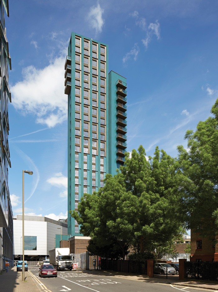 Metropolitan Workshop's resourceful and elegant design for Pocket Living's first-ever modular constructed tower, Mapleton Crescent, helped secure planning and community approval. Image Credit: Edmund Sumner