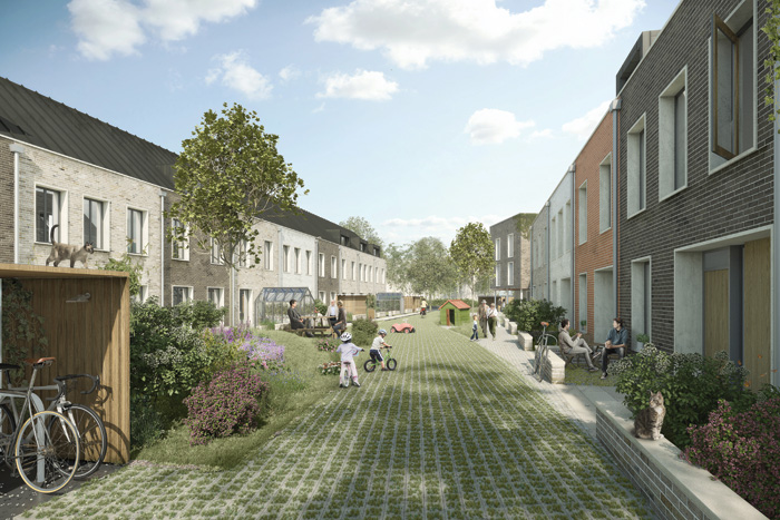 From working closely with the cohousing group, Mole designed shared play streets, a large community space and a huge central garden to help knit the community together. Image Credit: Darcstudio