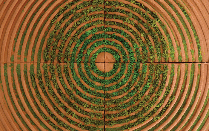 Moss Tiles, by Poppy Pippin, actively encourage moss to grow in the concentric ridges