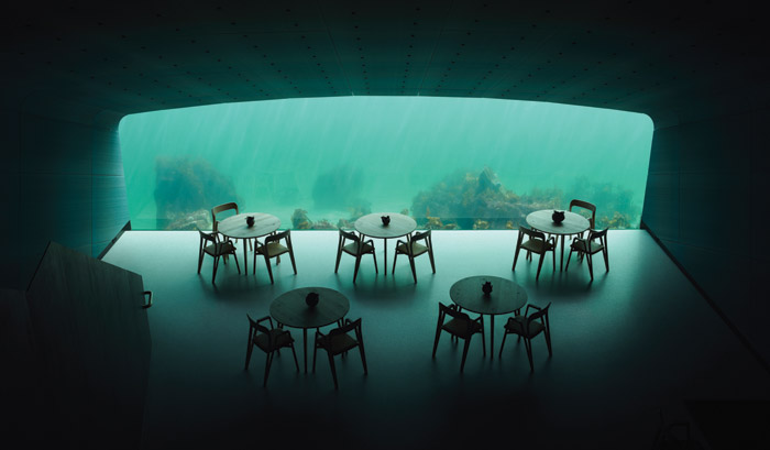 'You can think of it as an inverted aquarium, where the fish come down to look in at the people,' says Snøhetta founding partner Kjetil Trædal Thorsen. Credit: Ivar Kvaal