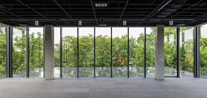 A new fourth level contains both sky-lit exhibition space and fully glazed walls looking out on to the treetops. Image Credit: Jeff Goldberg-Esto