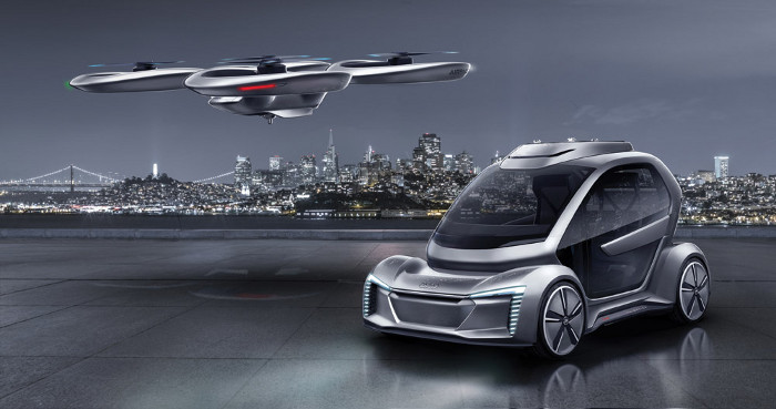 Pop.Up Next a flying car design from Italdesign with Airbus and Audi. Image credit: Italdesign.