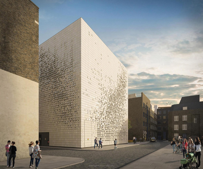 Glazed ivory-white tiles clad the 'sugar cube', a vent shaft and substation by Weston Williamson and William Matthews Associates for Euston's HS2 station