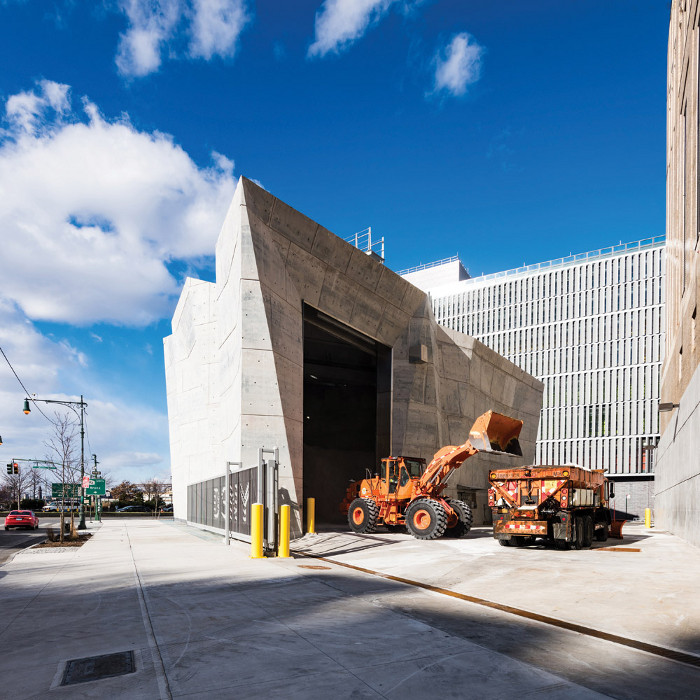 Dattner Architects' concrete Spring Street Salt Shed in New York was designed for the NYC Department of Sanitation