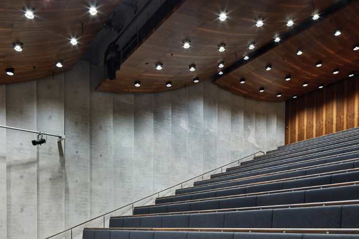 Curves of walnut wood and ridged concrete section provide passive acoustics in the auditorium