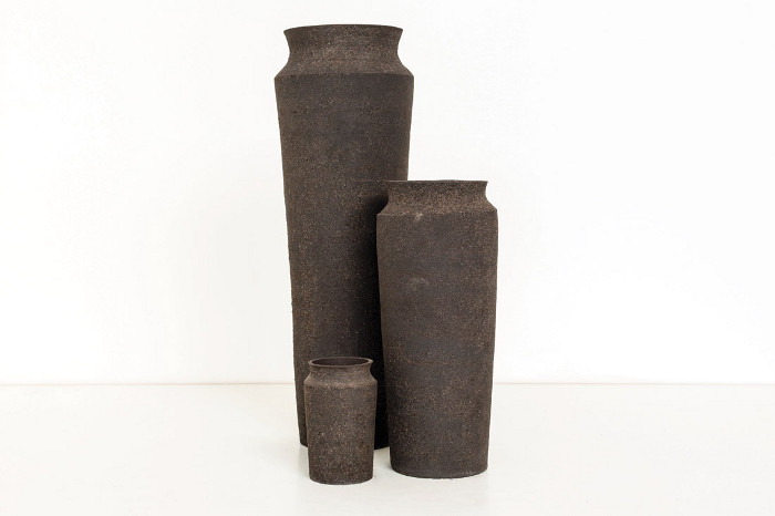 Rare Earthenware (2015), vases made from radioactive by-products of the manufacture of tech goods. Image credit: Unknown Fields / Toby Smith.