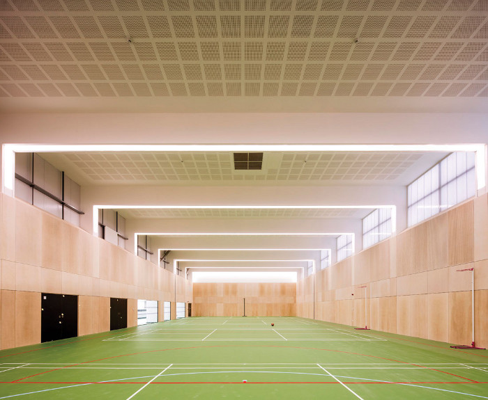The four-court sports hall is used by the community as well as the schools. Image credit: Will Scott.