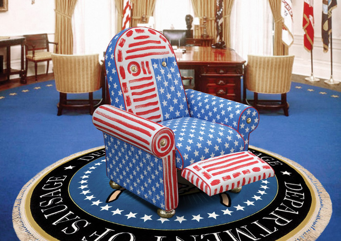 The Lazy President chair (2019), a product of Job's collaborative brand with Seletti, entitled Blow