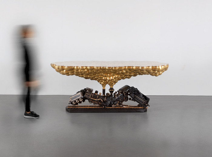 Say it with furniture: Smeets and his ex-wife business partner announced their romantic separation with Train Crash Table (2015). Image credit: Jean-Pierre Vaillancourt.