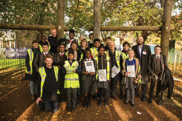 Build Up Foundation, members of the local student project team and Hackney mayor Philip Glanville at the launch of Build Up Hackney. Image credit: Ted Mendez.