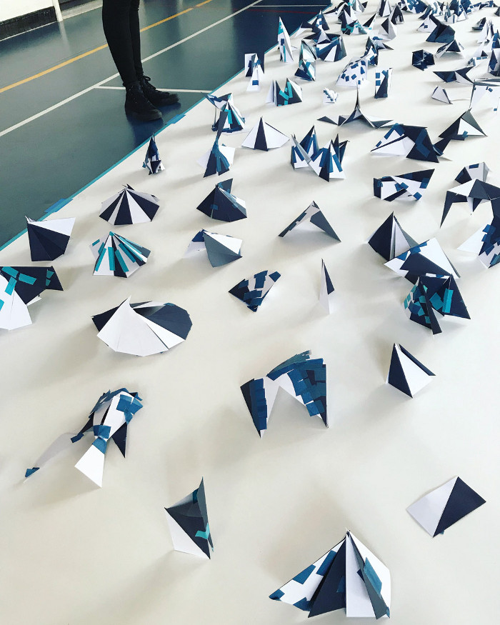Initial paper models for Matt+Fiona's playground structure for Phoenix School, created by the students. Image credit: Fiona Macdonald.