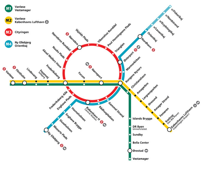 Cityringen (M3) on the Copenhagen Metro map, including the city's two existing lines (M1 and M2) and the planned M4 line.