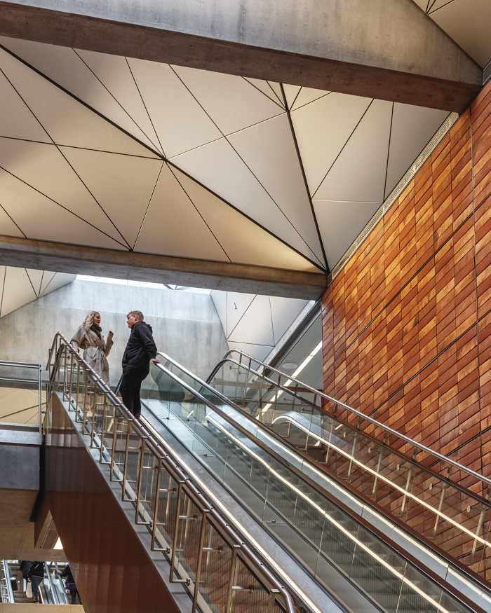 The materials of interior tiles are chosen in relation to stations' specific local landmarks. Image credit: Coast / Rasmus Hjortshøj
