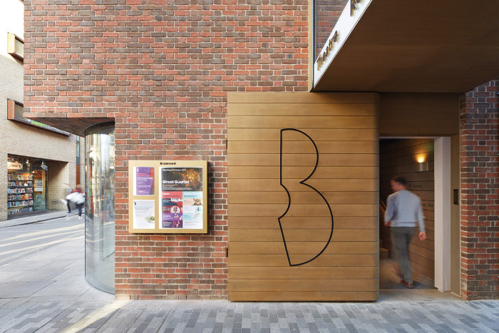 The new 'B' logo marks the entrance to the theatre.  Image credit: Jack Hobhouse