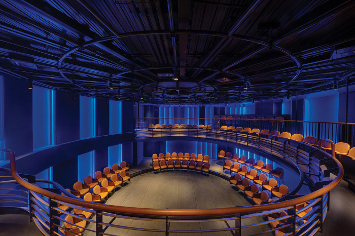 When the theatre's circular stage floor is clear, an amphitheatrical configuration is possible. Image credit: Tom Lee