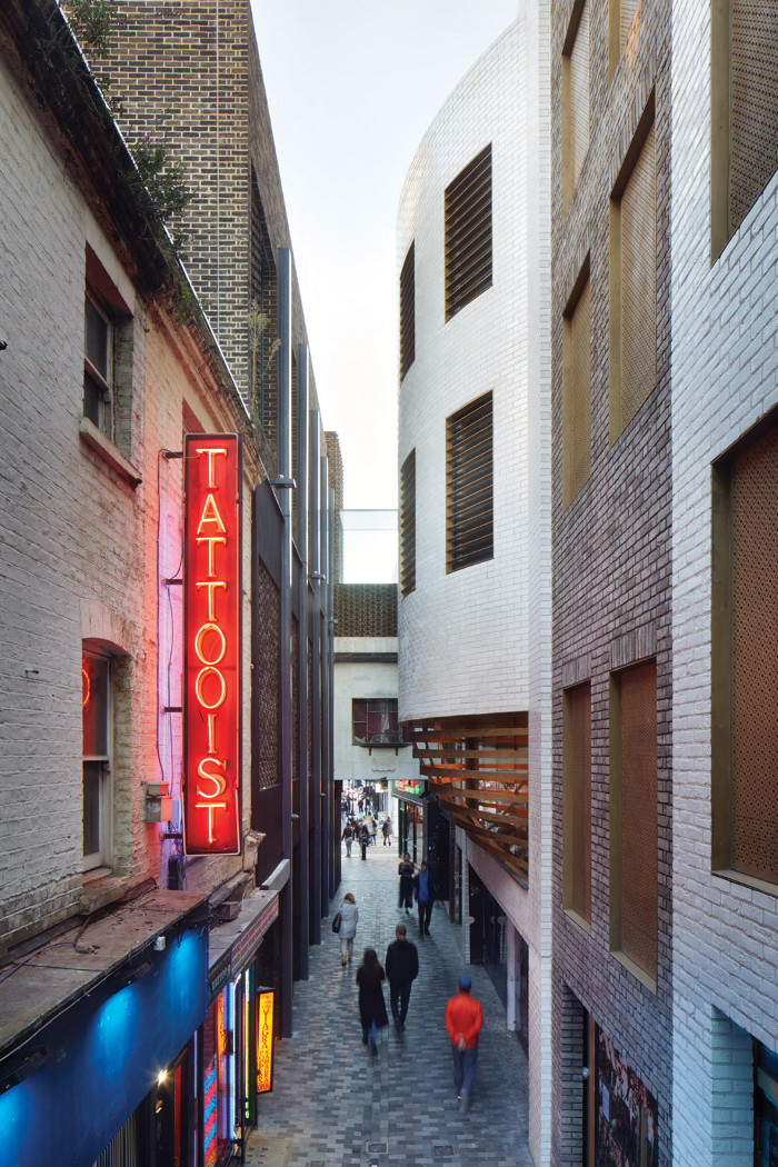 The theatre bulges out into the narrow alleyway of Walker's Court.  Image credit: Jack Hobhouse