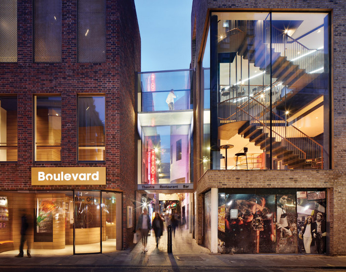 Walker's Court cuts between the two new brick volumes of the Boulevard Theatre, as seen from Peter Street.  Image credit: Jack Hobhouse