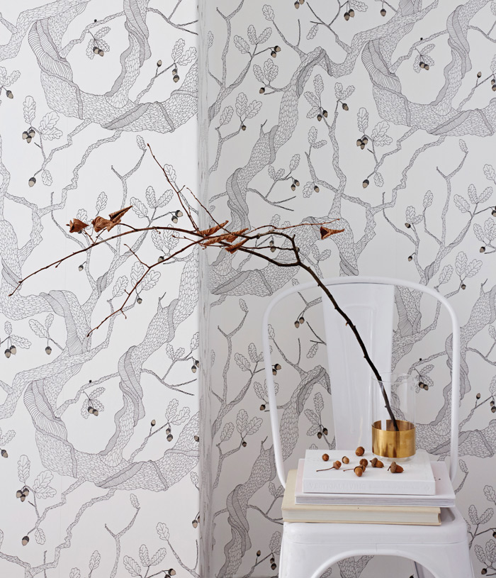 oak tree: Edwards' classic wallpaper comes in three different colours. The design is entirely handdrawn, featuring branches, tangled vines and a sparse smattering of acorns. It takes its inspiration from the gnarly ancient oak, which is said to be the wisest of all trees.