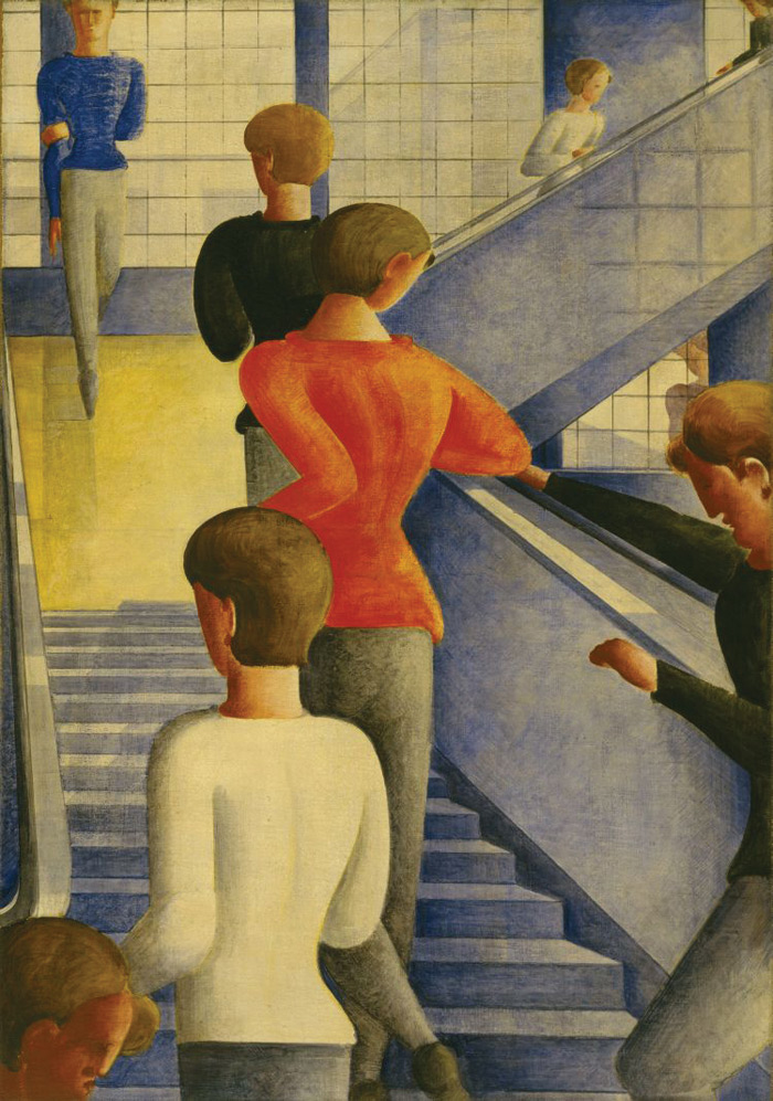 Students on the stairway painted by Schlemmer