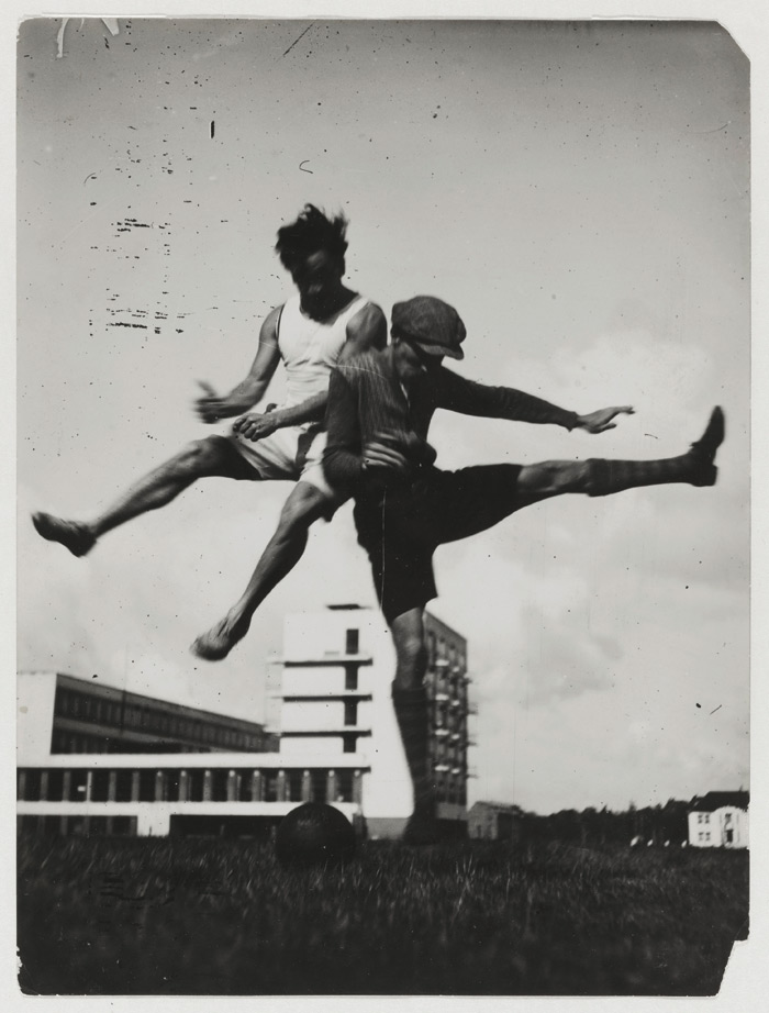 The students recorded their life together in numerous photographs. This is one of many sports pictures taken in front of Bauhaus buildings – taken 'to reflect an embrace of a modern lifestyle that included the whole person – body, mind and soul'