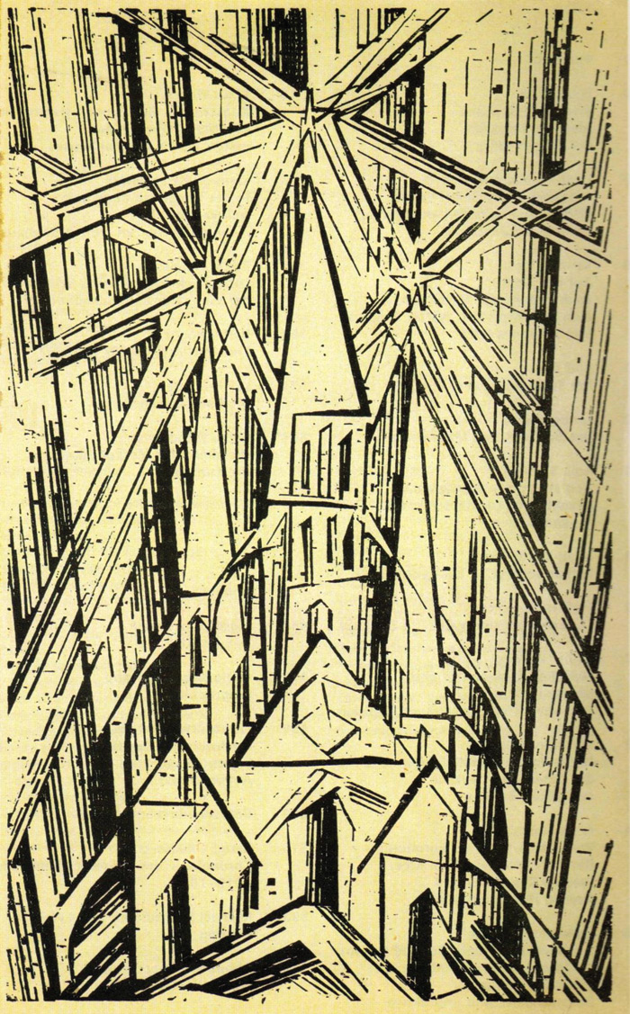 Lyonel Feininger Cathedral woodcut that appeared in the founding manifesto and programme of 1919